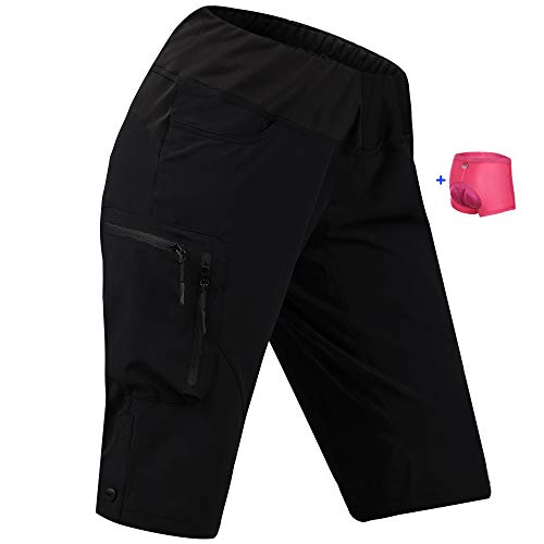 Cycorld Women's-Mountain-Bike-MTB-Shorts with Removable Liner (Black with Removable Liner, S(Waist:27