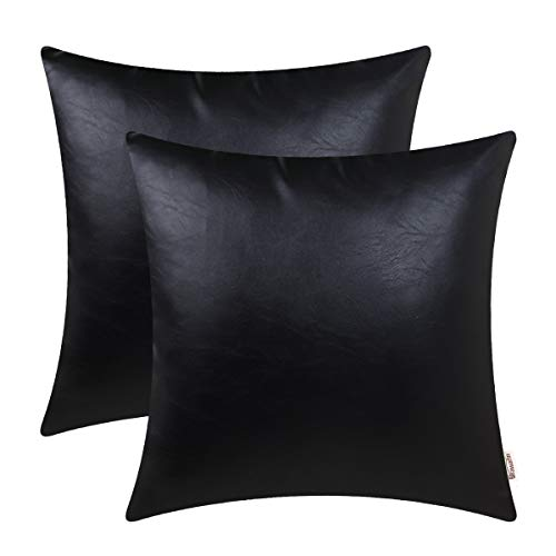 BRAWARM Pack of 2 Cozy Throw Pillow Covers Cases for Couch Sofa Home Decoration Solid Dyed Soft Faux Leather Both Sides 20 X 20 Inches Black
