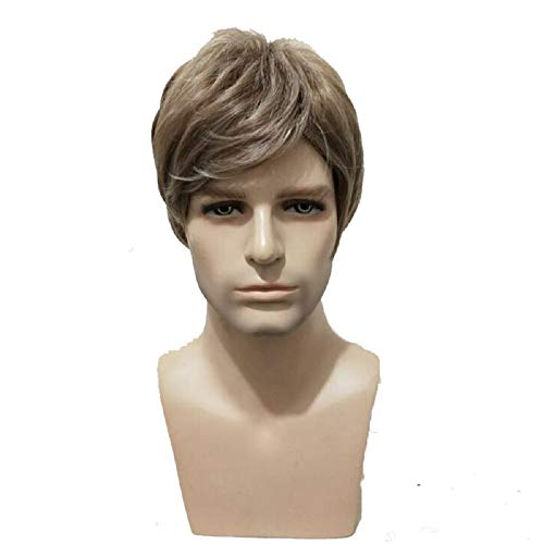 Litnretk Wigs Inclined Bands Hair for Man Synthetic Heat Resistance Fiber Male Hairpieces Short Curly Toupee,Metallic