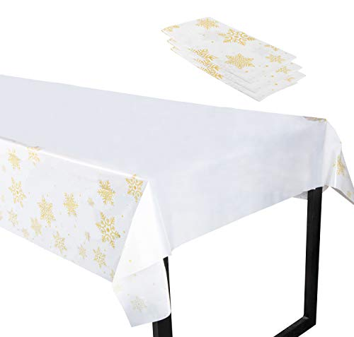 Christmas Plastic Tablecloth - 3-Pack 54 x 108-Inch Rectangular Disposable Table Cover, Perfect for Holiday Buffet Banquet or Long Picnic Table, Festive Snowflake Design, Gold and White, 4.5 x 9 Feet for $<!--$11.99-->