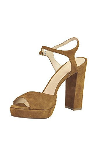 HELIA Women's MCGLCAT03045E Brown Suede Sandals 72h03igZmb