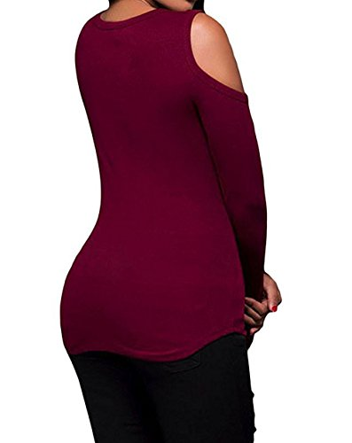 Printemps Casual Slim Fashion Col Shirts V Femmes Tunique Haut Manches Automne et Rouge Blouses Chemisiers Sexy Bandage T Tops Longues rqTOr