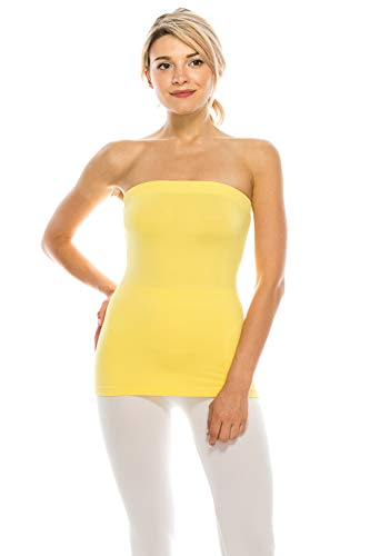 - ShyCloset Seamless Tube Top Bandeau - Women Regular Long Length Plain Solid Stretch One Size Made in USA (CS9023, Lemon)