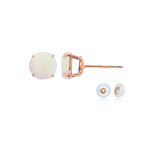 Genuine 10K Solid Rose Gold 6mm Round Natural Opal October Birthstone Stud -