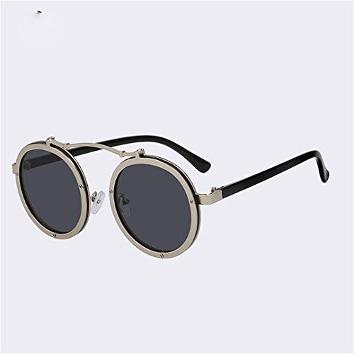 (YHNSHKHKU Sunglasses Round Steampunk Sunglasses Men Retro Designer Vintage Punk Glasses Summer Fashion Eyewear Uv400 Silver W Black Lens)