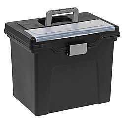 Office Depot Large Mobile File Box, Letter Size, 11 5/8in.H x 13 3/8in.W x 10in.D, Black/Silver, - Letter Silver Black