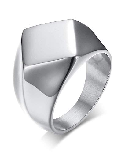 POVANDER Stainless Steel Polished Simple Square Diamond Shaped Signet Ring Band for Men,Silver 11 (Stainless Steel Square Ring)