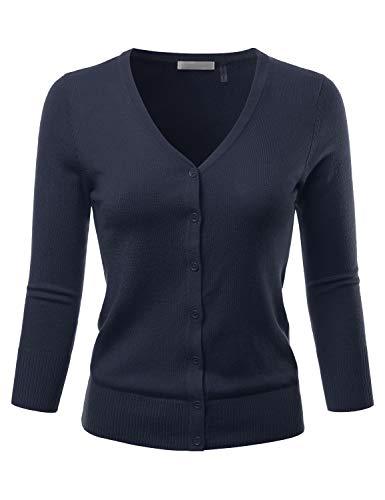 - EIMIN Women's 3/4 Sleeve V-Neck Button Down Stretch Knit Cardigan Sweater Navy L
