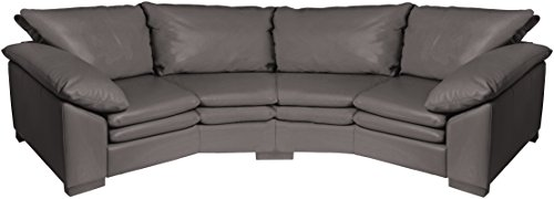 Omnia Leather Fargo 4 Cushion Conversation Sofa in Leather, Standard No Nail Head, Navajo Onyx