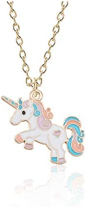 DuoYo Cute Colorful Cartoon Unicorn Pendant Necklace Jewelry Girls Gift