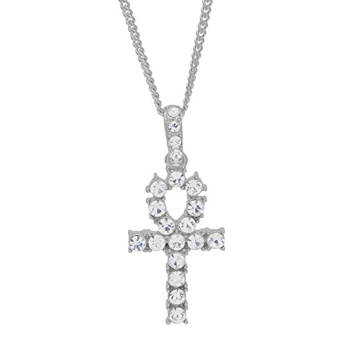 Angelcrab jewelry Fully CZ Iced Out Bling Egyptian Ankh Life Cross Pendant Necklace, 27'' by Angelcrab