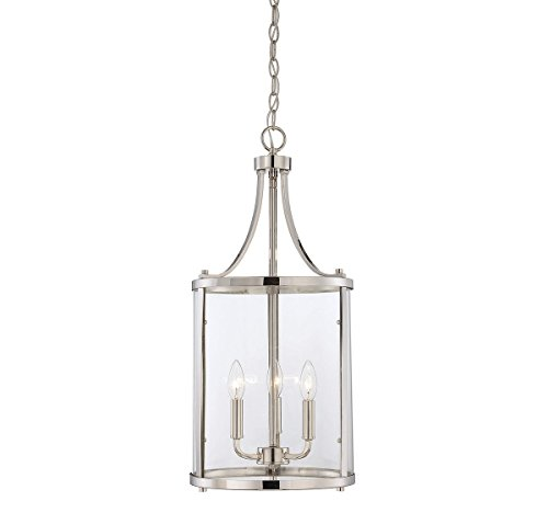 Savoy House 7-1040-3-109, Penrose 3-Light Small Foyer Lantern, Polished (Nickel Lantern Pendant)