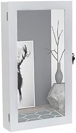 Unknown1 Wall Mounted Jewelry Cabinet Armoire with Mirror Storage Organizer White Modern Contemporary MDF Painted Included