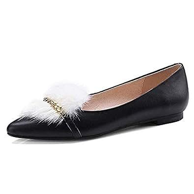 Nine Seven Women's Leather Pointtoe Slip On Flats 4 B(M) US Black