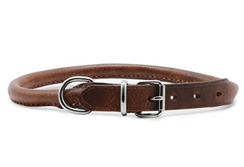 Tan 3 x Round Leather Collar Chestnut 45-54cm Size 6