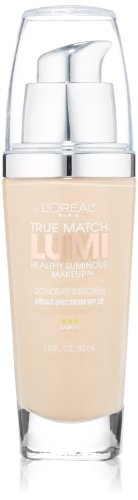 L'Oreal True Match Lumi Healthy Luminous Makeup, Porcelain/Light Ivory [W1-2], 1 oz (Best Full Coverage Non Comedogenic Foundation)
