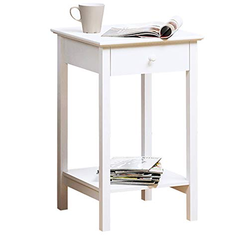 Tables ZR- Bedside Drawer with Shelf Cabinet Side Storage Unit, Wood, White Furniture