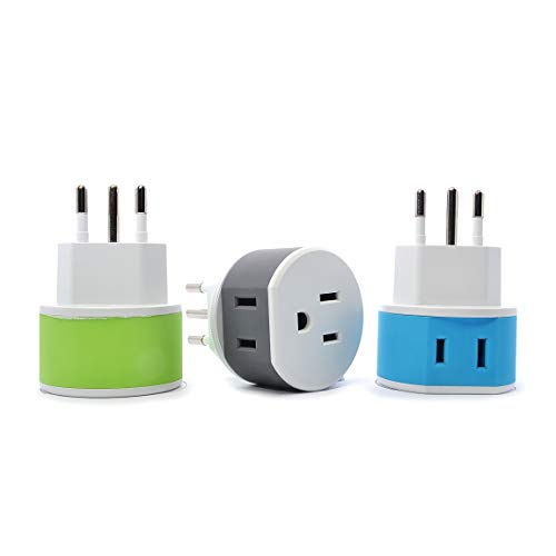 OREI Italy, Uruguay Travel Plug Adapter - 2 USA Inputs - 3 Pack - Type L (US-12A) - Does Not Convert ()