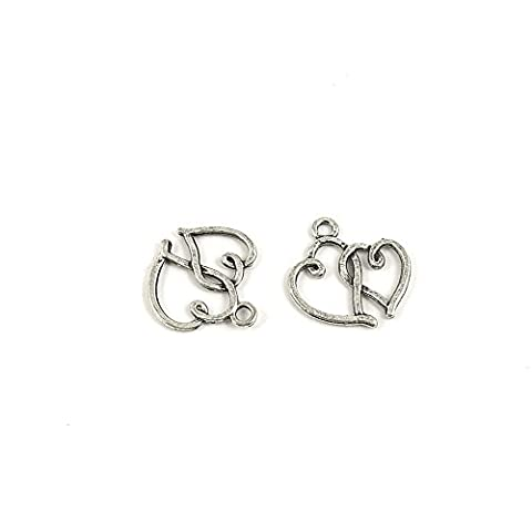 100 Pieces Wholesale Supplies Ancient Silver Fashion Jewelry Making Charms Findings W-13006 Dual Hearts Pendant Craft DIY Vintage Alloys Necklace Bulk Supply - Heart Charm Jewelry Finding