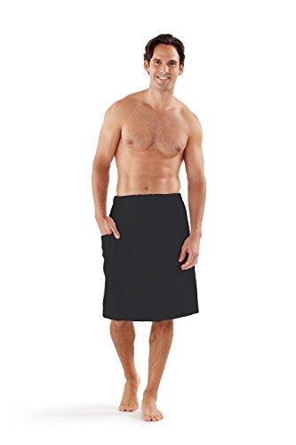 - Boca Terry Men's Spa Wrap - 100% Cotton Spa, Gym, Bath Towel - Black, White - Medium/Large, 2XL, 4XL