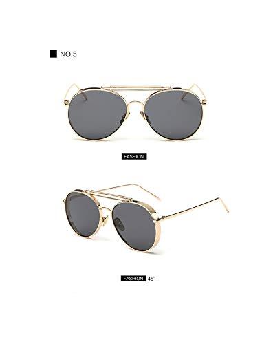 (Pink Sunglasses Women Uv400 Shades Golden Eyewear Metal Frame Pilot Sun Glasses Men New,5)