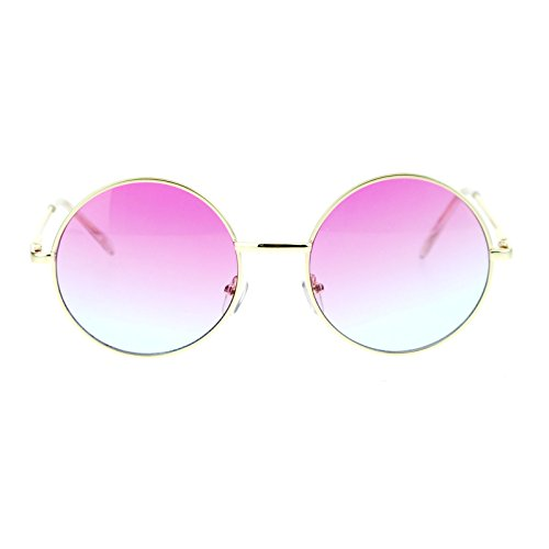 2 Tone Color Lens Retro Vintage Style Round Circle Hippie Groovy Sunglasses Pink - Sunglasses Hippie