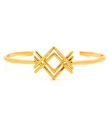 gorjana Gold Plated Mesa Cuff Bracelet (Silver Yochi Necklace)