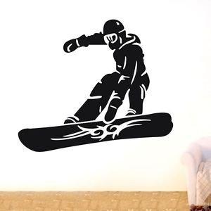 [Wall Decal Sticker bedroom snowboarding sport mountain snow boys nursery bo2732] (Diy Snow Globe Costume)