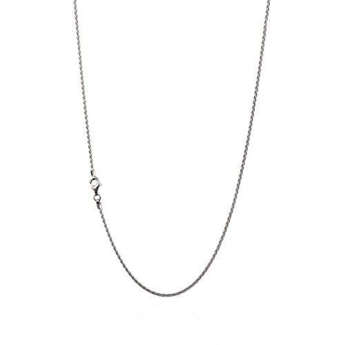 925 Sterling Silver 1.50 mm Spiga-Wheat Chain Necklace with Pear Shape Clasp-Rhodium Finish