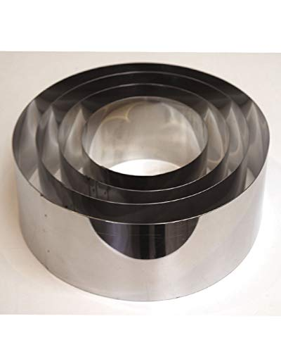 Set of 4 Mousse Cake Baking Rings Cutters Bottomless 6''.8''.10''.12'' all 3'' Deep