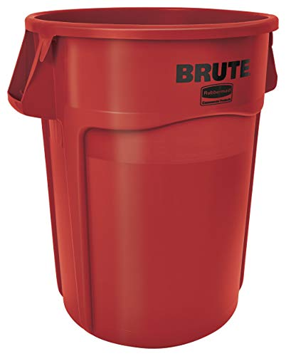 Rubbermaid Commercial Products FG265500RED BRUTE Heavy-Duty Round Trash/Garbage Can, 55-Gallon, Red