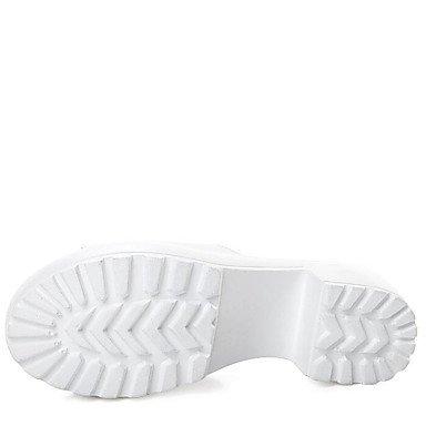 LvYuan Mujer-Tacón Robusto-Otro Confort-Sandalias-Exterior Vestido Informal-Cuero-Negro Blanco White