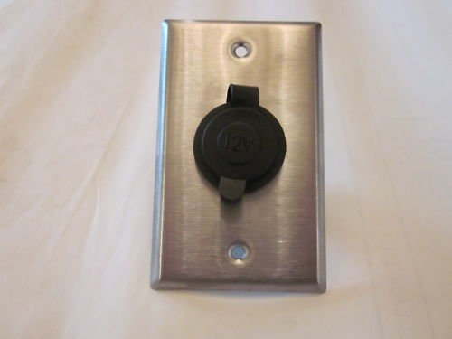 Rv LAB 12 Volt Lighter Socket and Stainless Steel Wall Plate Cs-//mwmnt
