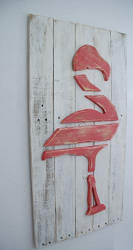 (Layered Wood on Wood Pink Flamingo Wood Beach Wall Art, Breast Cancer Flamingo, Pink Flamingo Art, Pink Flamingo Decor, Flamingo Picture, Tropical Decor)