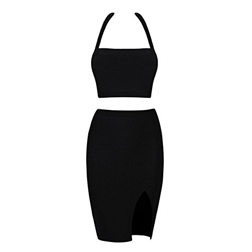 HLBandage 2 Piece Halter Neck Rayon Side Split Bandage Dress Negro