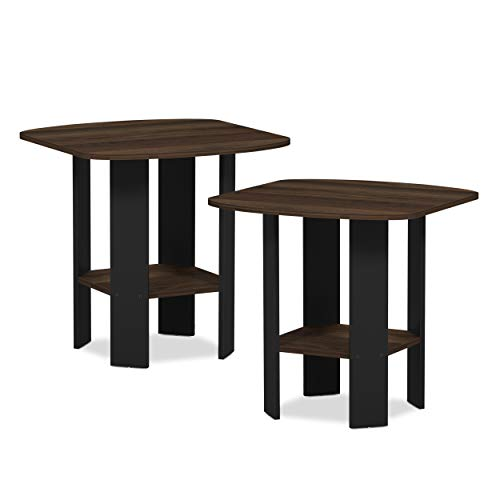 Furinno 2-11180CWN Simple Design 2-Pack End Side Table, Columbia Walnut/Black