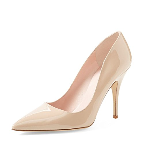 (YDN Women Classic Mid Heel Pumps Pointy Toe Slip on Formal Stilettos Office Shoes 8 (Nude))