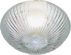 """NATIONAL BRAND ALTERNATIVE 2489668 Mushroom-Style Ceiling Fixture Replacement Glass, Clear Ribbed with 9-1/2"""", 7-5/8"""" Fitter, 4 Per Box"""
