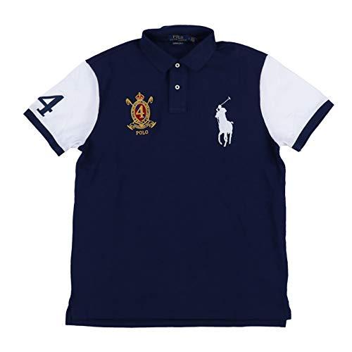 Polo Ralph Lauren Mens Big Pony Custom Slim Fit Crest Polo Shirt (XX-Large, Navy Blue/White) ()