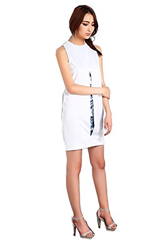 Front Dress Round Neck One Boutique White Billie's with Dress Slit Piece HxfqTx8Y
