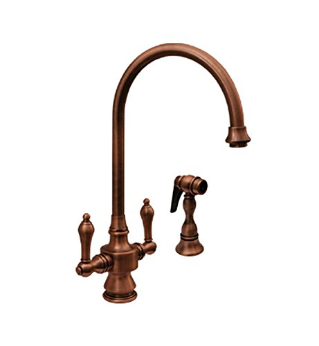 Whitehaus WHKSDLV3-8101-ACO Vintage-3 8 1/8-Inch Dual Handle Faucet with Long Gooseneck Swivel Spout, Lever Handles and Solid Brass Side Spray, Antique Copper (Aco Dual Handle Faucet)