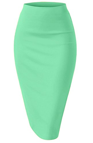 NBU Women Elastic Waist Band Stretchy Fabric Pencil Skirt (Large, Mint)