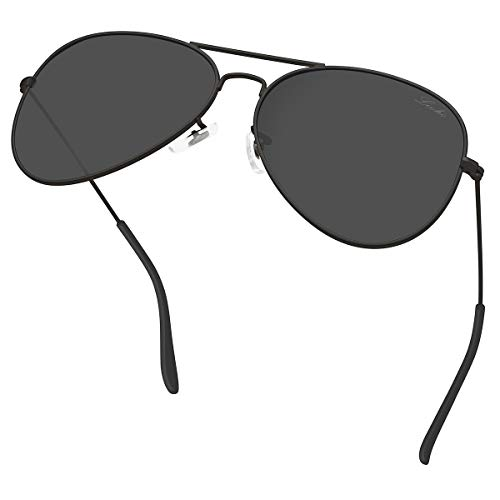 livho Classic Polarized Aviator Sunglasses UV Mirrored Lens Metal Retro Shades for Women Men (Black Grey Lens/Black Frame, 58