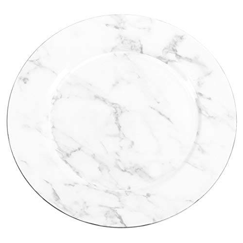(Koyal Wholesale Faux Marble Charger Plates, 4-Pack White Gray Marble Luxury Plates for Upscale Parties, Weddings, Dinner Parties)