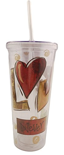 Dicksons Insulated Acrylic Tumbler with Built-in Straw and Lid, 20 ounce Capacity, Love Never Fails