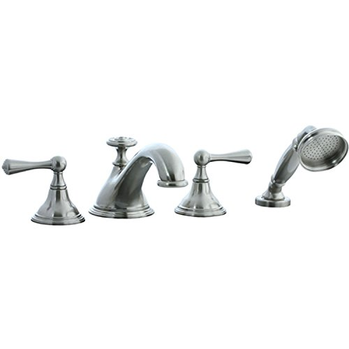 Cifial Handshower (Cifial 278.645.620 Asbury Widespread Low-profile Roman Bathtub Faucet Trim with Handshower and Metal Lever Handles, Satin Nickel)