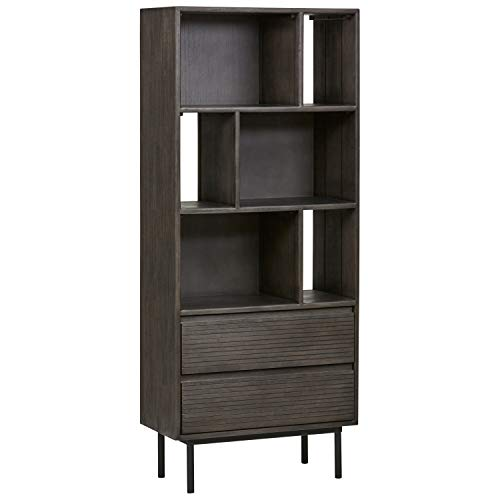 Rivet Stevens Modern Bookcase, 27.56''W, Acacia, Brushed Tundra Gray by Rivet (Image #9)