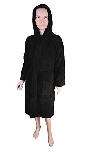 Turquoise Textile Kids Terry Hooded Robe for Boys and Girls, 100% Turkish Natural Soft Cotton, Made in Turkey (Large, Black) ()