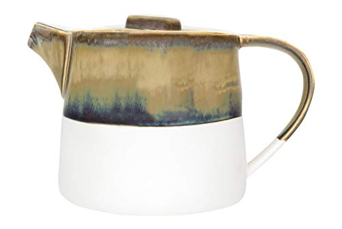 Creative Co-op Brown Reactive Glaze Ceramic Matte White Bottom -