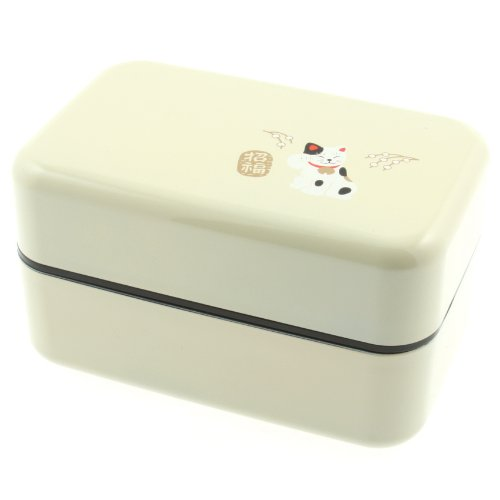 Kotobuki 2-Tiered Bento Box, White Maneki Neko Lucky Cat